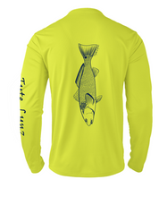 Load image into Gallery viewer, Mens Shoreline Popcorn Knit Long-Sleeve Redfish | Hi-Vis Yellow | Tyte Lynz