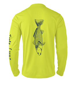 Mens Shoreline Popcorn Knit Long-Sleeve Redfish | Hi-Vis Yellow | Tyte Lynz