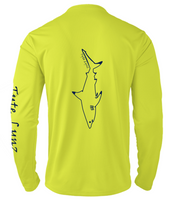 Load image into Gallery viewer, Mens Shoreline Popcorn Knit Long-Sleeve Blacktip Shark | Hi-Vis Yellow | Tyte Lynz