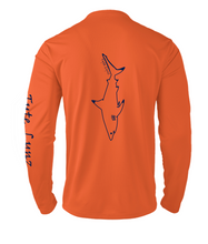 Load image into Gallery viewer, Mens Shoreline Popcorn Knit Long-Sleeve Blacktip Shark | Hi-Vis Orange | Tyte Lynz
