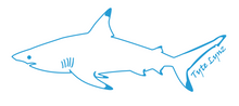 Load image into Gallery viewer, Tyte Lynz Blacktip Shark Vinyl Decal | Left Facing | Ice Blue