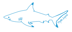Tyte Lynz Blacktip Shark Vinyl Decal | Left Facing | Ice Blue