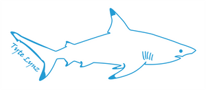 Tyte Lynz Blacktip Shark Vinyl Decal | Right Facing | Ice Blue