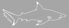 Load image into Gallery viewer, Tyte Lynz Blacktip Shark Vinyl Decal | Right Facing | White