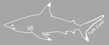 Load image into Gallery viewer, Tyte Lynz Blacktip Shark Vinyl Decal | Left Facing | White