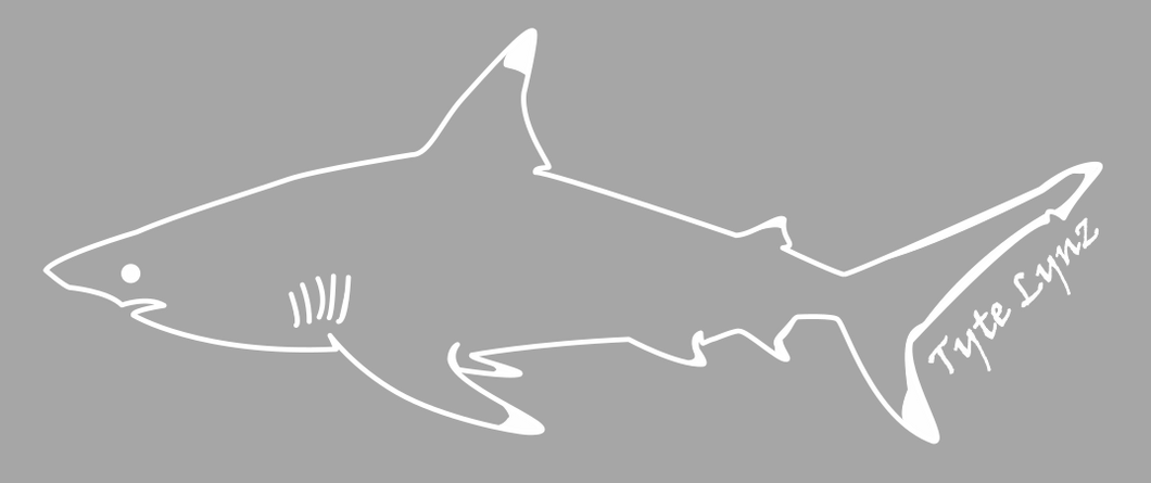 Tyte Lynz Blacktip Shark Vinyl Decal | Left Facing | White