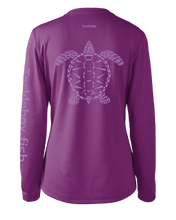 Load image into Gallery viewer, Ladies Shoreline Popcorn Knit Long-Sleeve Sea Turtle | Blackberry Ice | Tyte Lynz