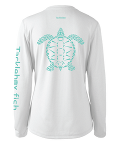 Ladies Shoreline Popcorn Knit Long-Sleeve Sea Turtle | White | Tyte Lynz