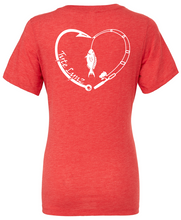Load image into Gallery viewer, Love To Fish Tri-Blend V-Neck Tee | Red | Tyte Lynz