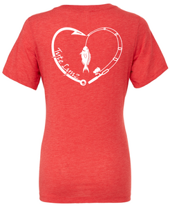 Love To Fish Tri-Blend V-Neck Tee | Red | Tyte Lynz