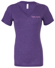 Load image into Gallery viewer, Love To Fish Tri-Blend V-Neck Tee | Purple | Tyte Lynz