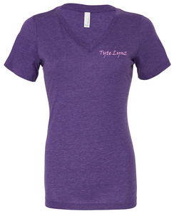 Love To Fish Tri-Blend V-Neck Tee | Purple | Tyte Lynz
