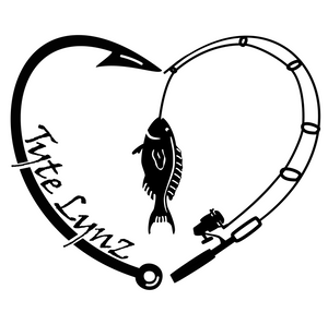 Tyte Lynz Love To Fish Vinyl Decal | Black
