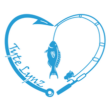 Load image into Gallery viewer, Tyte Lynz Love To Fish Vinyl Decal | Ice Blue