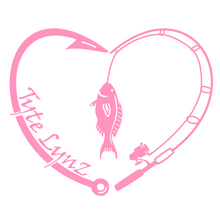 Load image into Gallery viewer, Tyte Lynz Love To Fish Vinyl Decal | Soft Pink