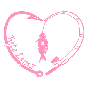Tyte Lynz Love To Fish Vinyl Decal | Soft Pink