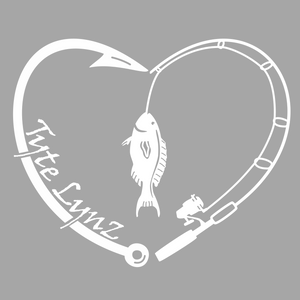 Tyte Lynz Love To Fish Vinyl Decal | White
