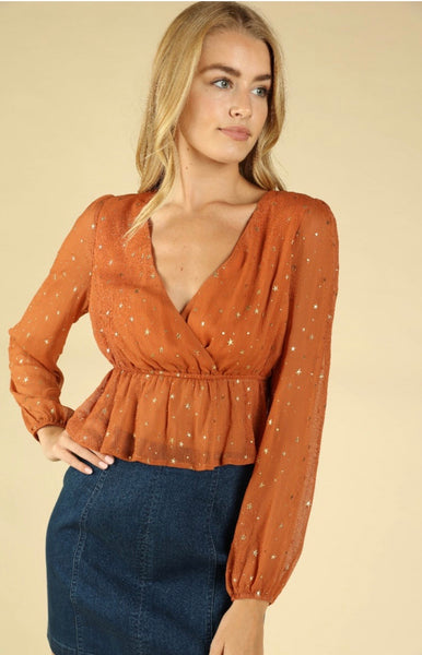 Metallic Star Wrap Top