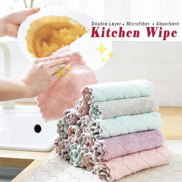 Double-Layer Microfiber Absorbent Kitchen Wipe (5PCS)