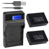 Battery (X2) & LCD Slim USB Charger Replacement for Canon LP-E17, LC-E17, LC-E17C