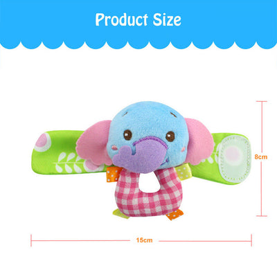 Animal Soft Children Infant Plush Baby Wrist Strap Neborn Baby-elephant&monkey