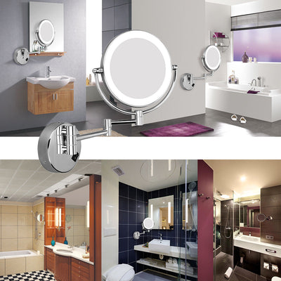 8'' LED Lighted Wall Mount Makeup Mirror Dual Side 5x Magnifying Shaving Mirror