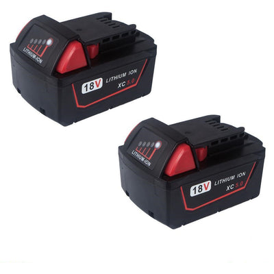 2x 18V 5.0Ah Red Lithium Ion XC 5.0 Battery Replacement For Milwaukee M18 M18B4 48-11-1828