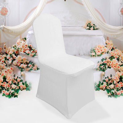 White Chair Cover Full Seat Cover Spandex Lycra Stretch Banquet Wedding 100Pcs