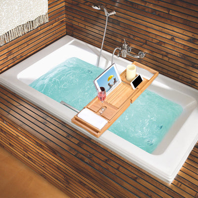 Expandable Removable Bathtub Bamboo Bath Caddy Wine Glass Holder Tray Over Rack