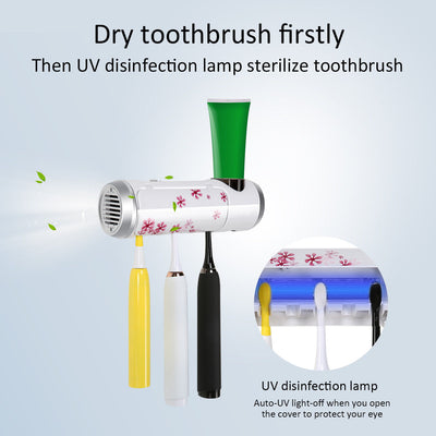 UV Light Antibacterial Sterilizer Toothbrush Toothpaste Holder Storage Cleaner
