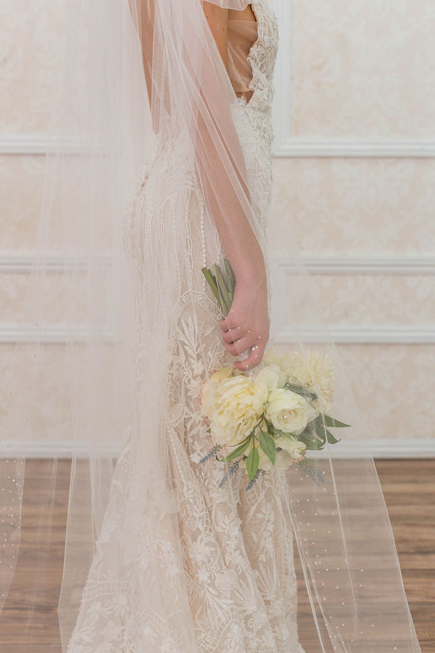 LUELLA CATHEDRAL VEIL - WITH CRYSTAL & PEARL EDGING