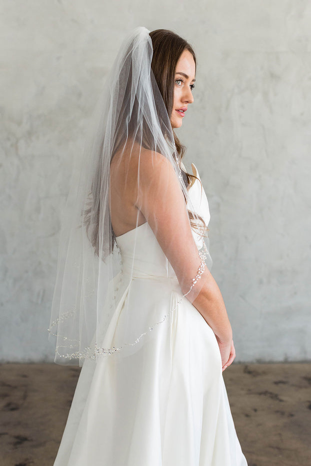 "THEIA 36"" VEIL - CRYSTAL EDGING"