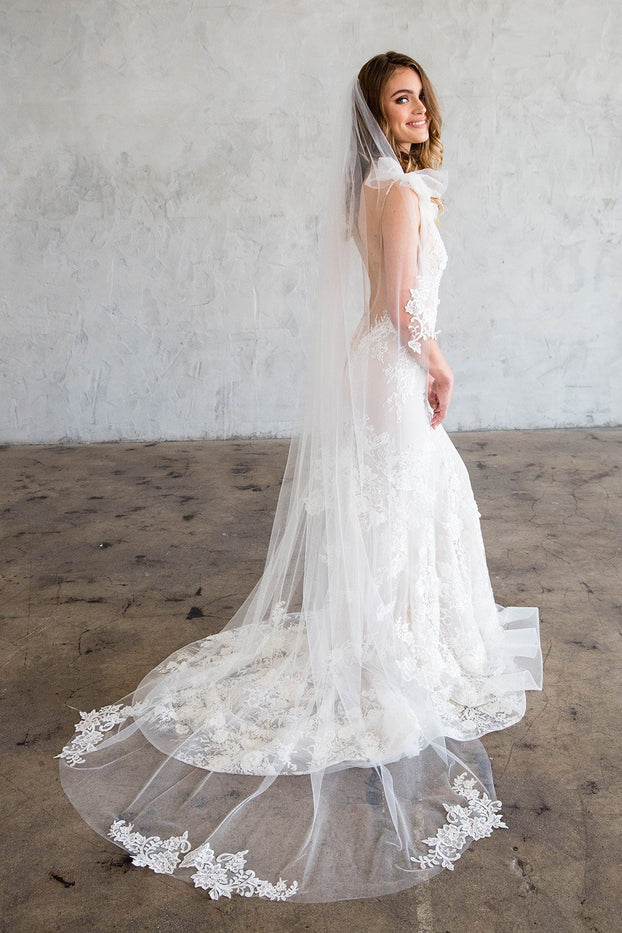 CADENCE CHAPEL VEIL - WITH SCATTERED LACE EDGE