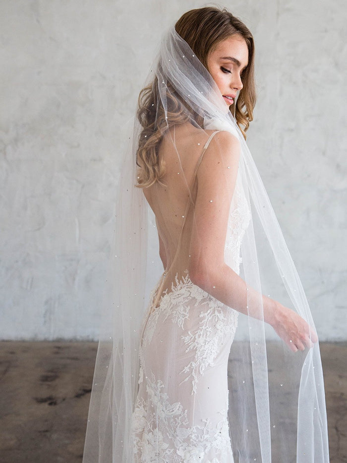 ESTEE CHAPEL VEIL - WITH SCATTERED CRYSTALS