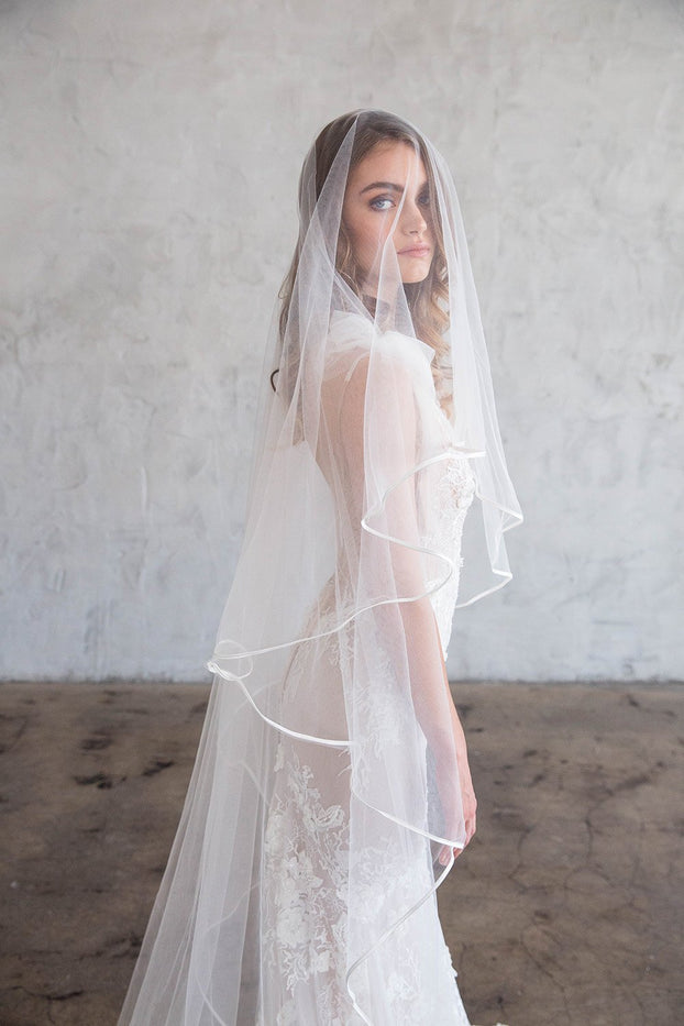 IVEN CHAPEL VEIL WITH BLUSHER - SATIN RIBBON EDGING