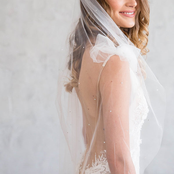 LEOLA FINGERTIP VEIL - WITH SCATTERED CRYSTALS