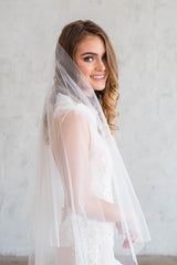 PASCAL FLOOR VEIL WITH BLUSHER - SIMPLE CUT EDGE