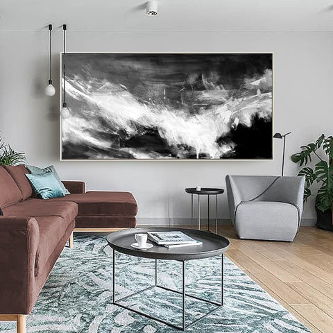Large Black And White Abstract Canvas Art For Living Room - Artexplore