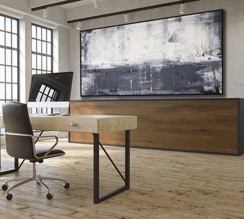 Large Panoramic Grey And White Abstract Art For Office