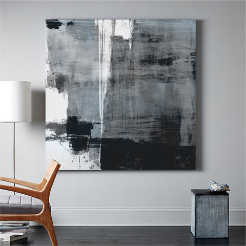 Large Blue Black White Abstract Acrylic Painting