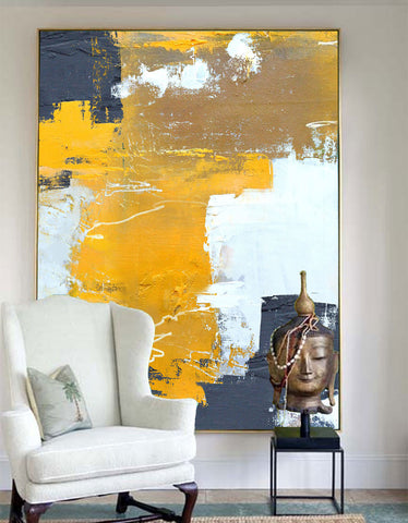 Large Yellow White Abstract Painting On Canvas