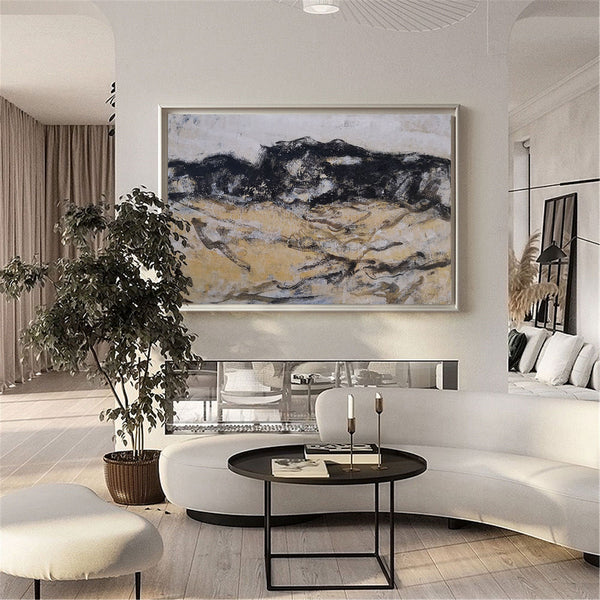 Black And Gold Wall Art Abstract Acrylic Art Canvas Painting For Living Room