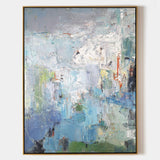 Large Original Abstract Blue And Green Wall Art Textured Modern Abstract Painting