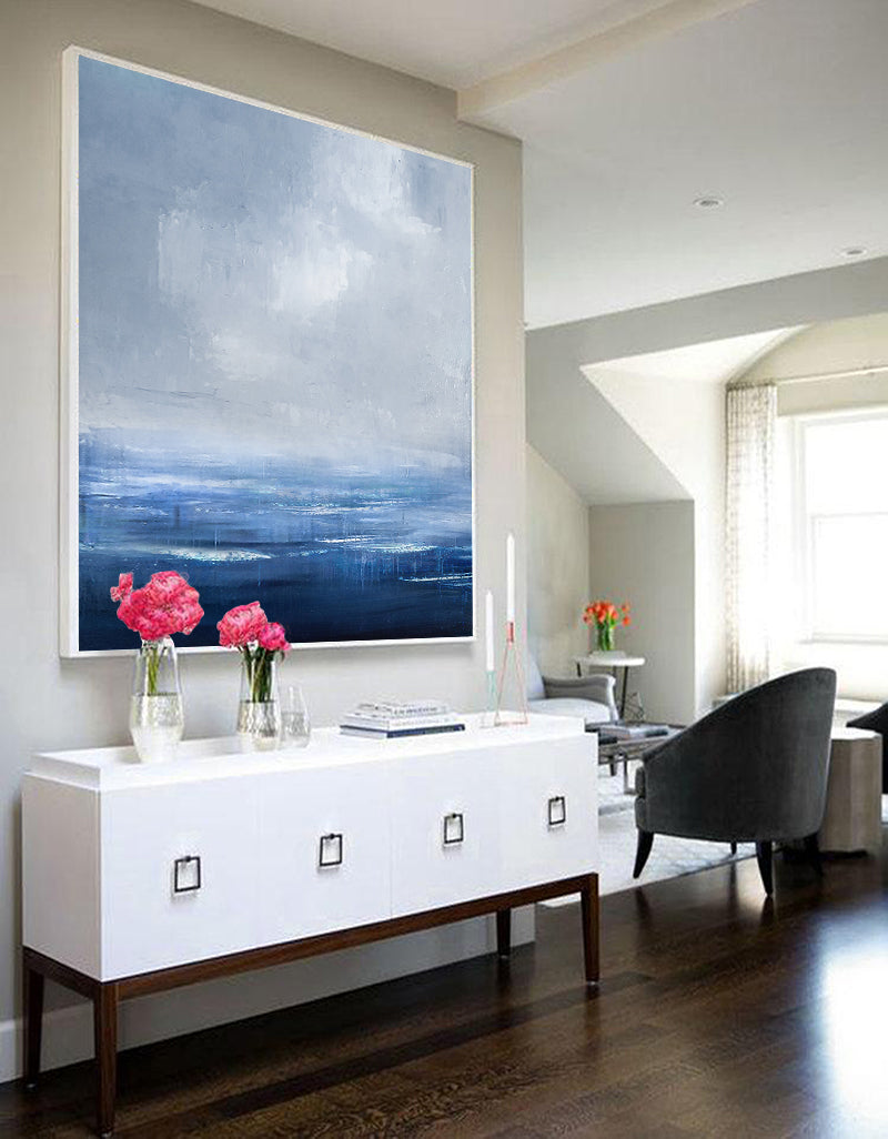 Blue Abstract Ocean Painting On Canvas Framed Modern Ocean Canvas Art Large Canvas Wall Art