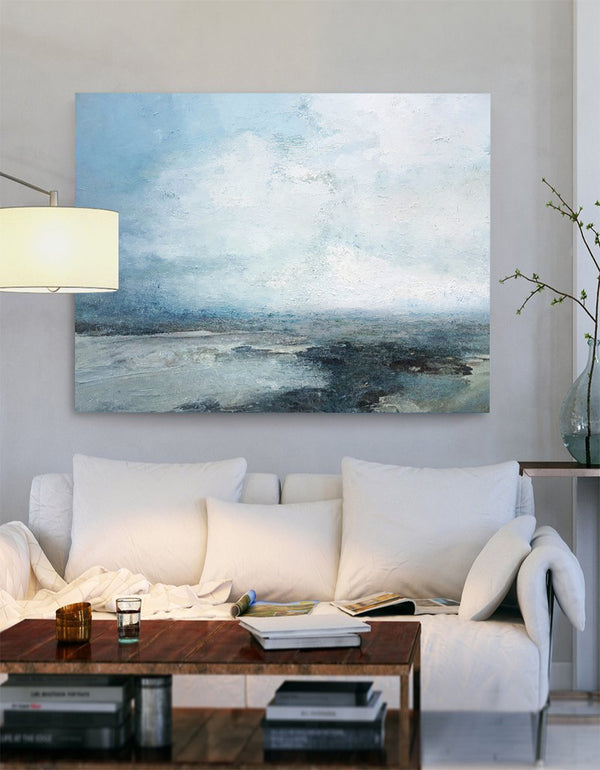 Abstract Beach Art Extra Large Coastal Canvas Wall Art Beach Blue Paint Impressionist Beach