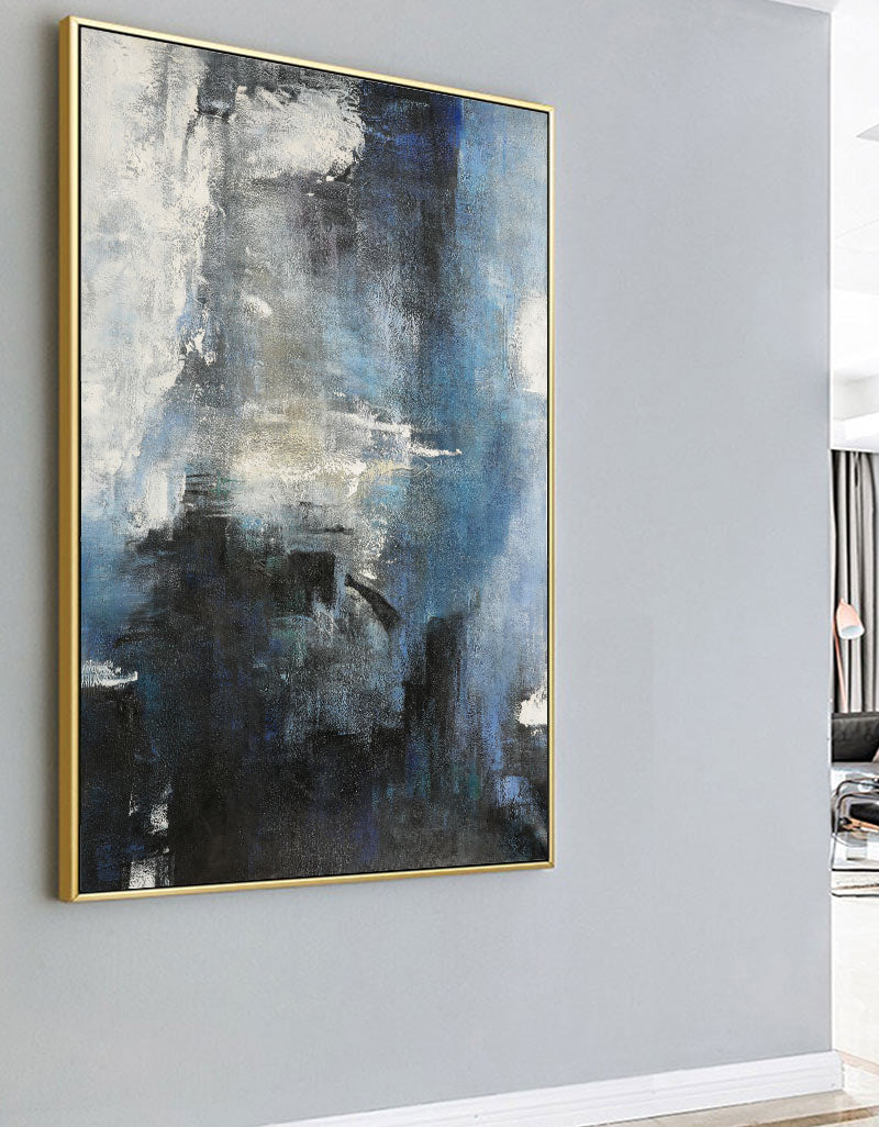 Oversized Blue White Black Abstract Art Dark Blue Painting Modern Blue Art For Wall