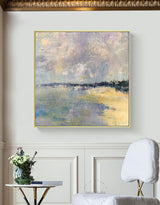 Original Square Abstract Beach Painting Large Landscape Painting Costal Paitning On Canvas For Living Romm