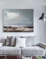 Modern Coastal Artwork Sea scape Wall Art Oversized Seaside Painting