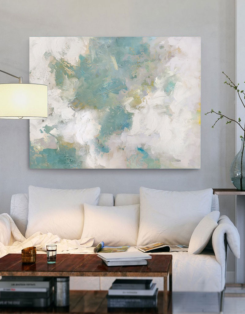 Large Sky And Sea Painting Abstract Ocean Painting Cloud Abstract Painting