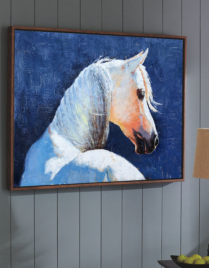 Famous Oil Paintings Of Horses White Horse Painting Framed Horse Wall Art Artexplore